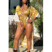 Lovely Print Yellow One-piece Swimsuit(With Cover-
