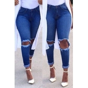 Lovely Stylish Hollow-ou Blue Jeans