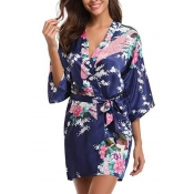 Lovely Leisure V Neck Print Blue Sleepwear