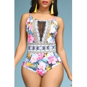 Lovely Floral Print Multicolor One-piece Swimsuit