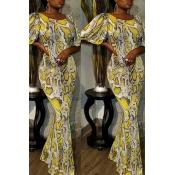 Lovely Trendy Print Yellow Ankle Length Dress