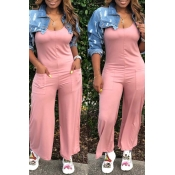 Lovely Casual Pocket Patched Pink One-piece Jumpsu