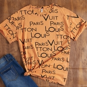 Lovely Casual O Neck Letter Print Orange T-shirt
