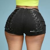 Lovely Trendy Bandage Design Black Shorts