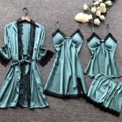 Lovely Leisure Lace Patchwork Blue Sleepwear