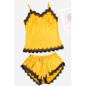 Lovely Stylish Lace Hem Yellow Sleepwear