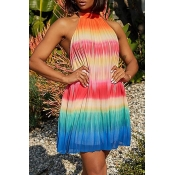 Lovely Bohemian Rainbow Striped Multicolor Mini Dr