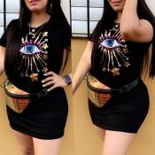 Lovely Casual O Neck Print Black Mini T-shirt Dres