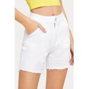Lovely Trendy Buttons Design White Shorts