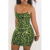 Lovely Casual Print Green Mini Dress