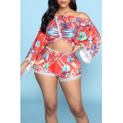 Lovely Chic V Neck Print Red Two-piece Shorts Set