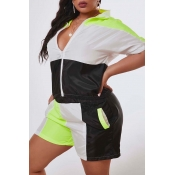 Lovely Leisure Patchwork Black Plus Size Two-piece