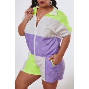 Lovely Leisure Patchwork Purple Plus Size Two-piec