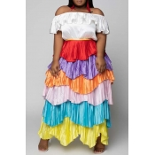 Lovely Trendy Layered Cascading Ruffle Multicolor