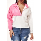 Lovely Sportswear Patchwork Pink Blouse