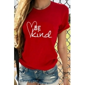 Lovely Casual Letter Print Red T-shirt