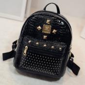 Lovely Stylish Rivet Decorative Black Backpack