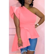 Lovely Trendy One Shoulder Flounce Design Pink Blo
