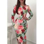 Lovely Stylish Floral Print Green Mid Calf Dress