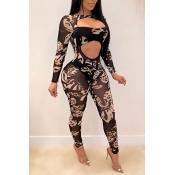 Lovely GSexy Print Black Two-piece Pants Set
