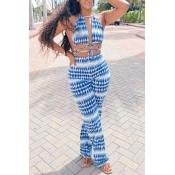 Lovely Trendy Tie-dye Blue Two-piece Pants Set