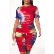 Lovely Leisure Letter Print Multicolor Two-piece S