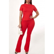 Lovely Casual O Neck Basic Red Two-piece Pants Set