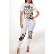 Lovely Casual O Neck Print White Two-piece Pants S