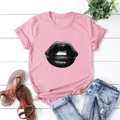Lovely Casual O Neck Lip Print Dusty Pink Plus Size T-shirt