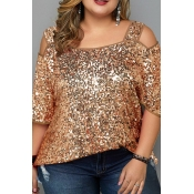 Lovely Casual Sequined Gold Plus Size Blouse