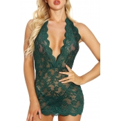 Lovely Sexy Lace Hem Blackish Green Babydolls
