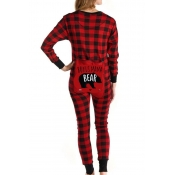 Lovely Family Plaid Printed Mother One-piece Jumps