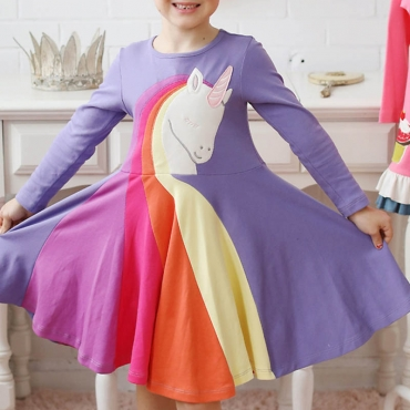 Lovely Sweet Patchwork Purple Girl Knee Length Dress