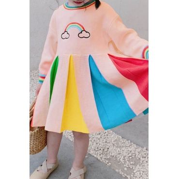 Lovely Sweet Patchwork Multicolor Girl Knee Length Dress