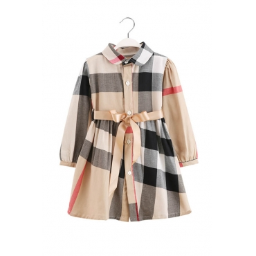 Lovely Sweet Plaid Print Apricot Girl Mini Dress