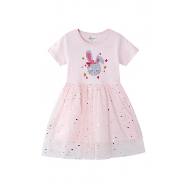 Lovely Chic Patchwork Light Pink Girl  Mini Dress