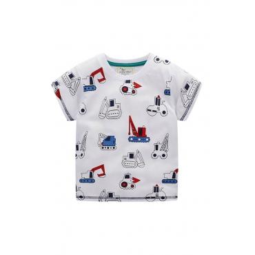 Lovely Casual Print White Boy T-shirt