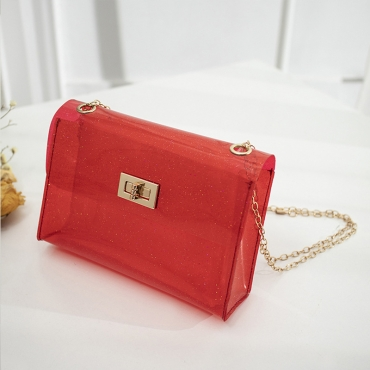 Lovely Trendy See-through Red Messenger Bag
