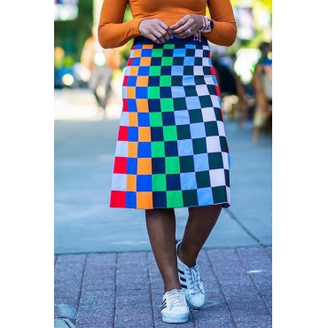 Lovely Casual Plaid Print Multicolor Knee Length Skirt