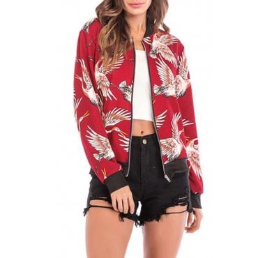 Lovely Bohemian Print Red Coat