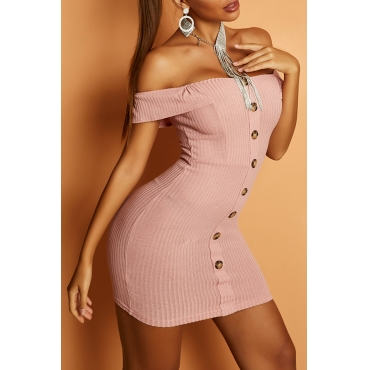 Lovely Casual Button Pink Mini Dress