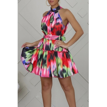 Lovely Casual Patchwork Multicolor Mini Dress