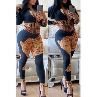 Lovely Casual Print Dark Blue Two-piece Pants Set