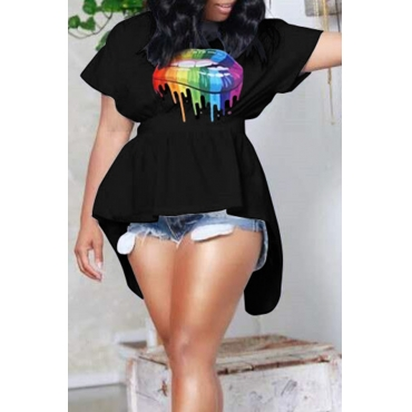 Lovely Casual Print Black Plus Size T-shirt