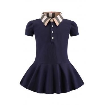 Lovely Sweet Buttons Design Dark Blue Girl Mini Dress