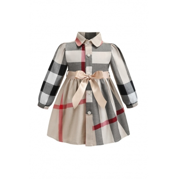 Lovely Sweet Bow-Tie Apricot Girl Knee Length Dress
