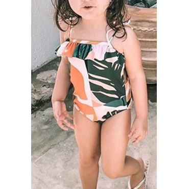 Lovely Family Print Green Bathing Suit Girl One-piece Swimsuit