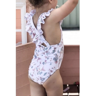 Lovely Sweet Print White Bathing Suit Girl One-piece Swimsuit
