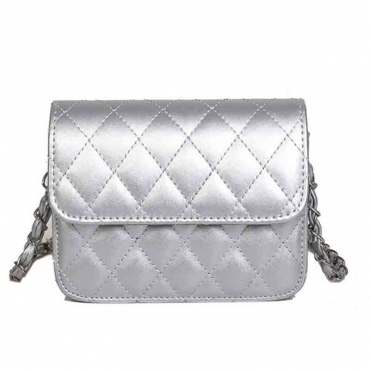 Lovely Trendy Chain Strap Silver Crossbody Bag
