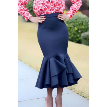 Lovely Trendy Flounce Design Dark Blue Skirt